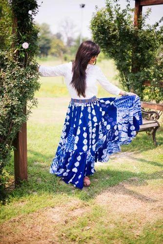 TRIBAL BELLY DANCE JAIPUR FUSION SKIRT BLUE