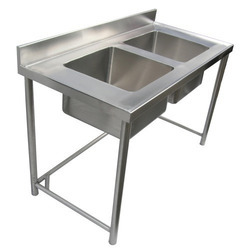 Metal Silver Double Sink Unit