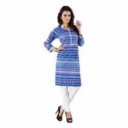 Blue And White Printed Cotton Kurti