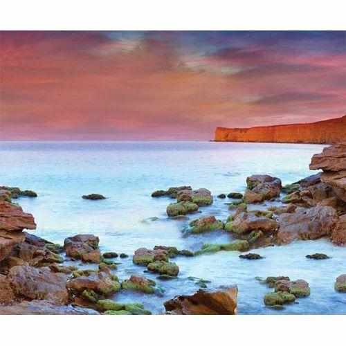 Vinyl Horizontal Vertical Dramatic Seashore Sunset Scenic Wallpaper