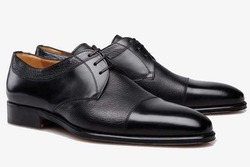 Pvc Black Mens Lace Up Leather Shoes