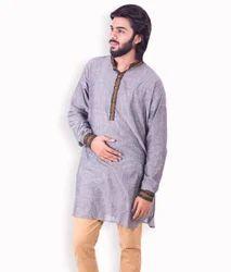 Cotton/Linen Mens Handloom Designer Kurta