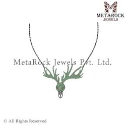 Silver Swamp Deer Gemstone Nekclace Jewellery