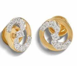 Circular and Oval Design Gold Diamond Stud Earrings