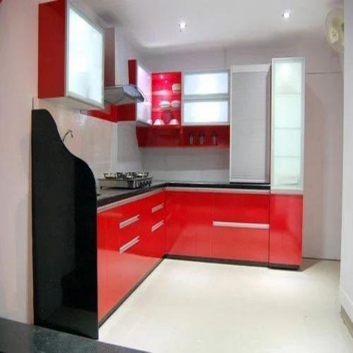 Designer L Shaped Modular Kitchen At Rs 2500 Square Feet: Laminated Modular Kitchen Wholesale
