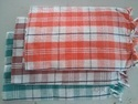 Cotton Red Checked Bath Towel