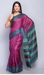 Silk Tussar Printed Zig Zag Palla Saree
