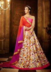 Cream Colored Banglori Silk Digital Printed Lehenga
