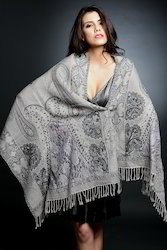 Boil Wool Shawls With Lace Embroidery