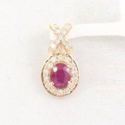 Ruby and Diamond 14K Gold Pendant