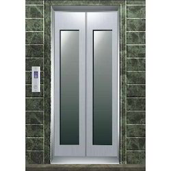 Stainless,steel,glass SS Center Opening Glass Elevator Doors