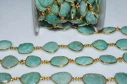 Amazonite Gold Plated Bezel Set Gemstone Chain