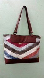 Casual Wear Printed Fancy Dhurrie Leather Bag, Size: 14X10X3inch