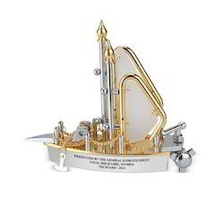 Gold and Silver Finish Ship Showpiece