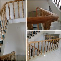 Teakwood Polished Wooden Staircase, For Home,Hotel