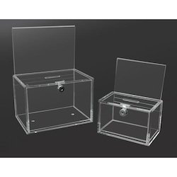 6 - 10 Inch Transparent Jiya Acrylic Donation Box With Leaflet On Top