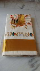 OSP Cream Off White Colour Pure Cotton Embroidery Designer Saree, 6.3 m (with blouse piece), Hand Made