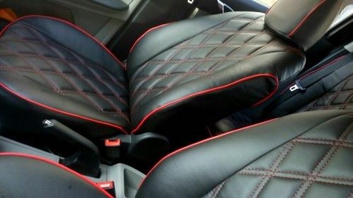 Black Red Leather Tata Tiago Seat Covers