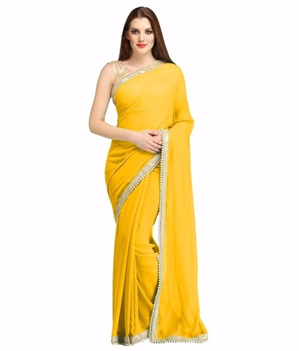 fa0b4403d2 Yellow Colour Pure Georgette Plain Saree at Rs 399 /piece(s ...