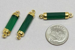 Green Onyx Gold Faceted Tube Shape Gemstone Connector