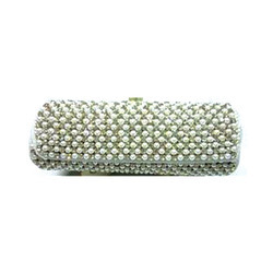 Silver Embroidered Clutch