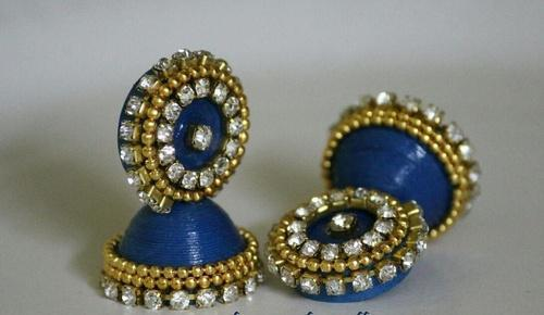 Paper Earring Blue With Stones Jhumka