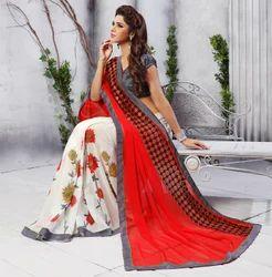White & Red Printed Saree