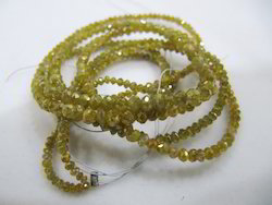 Natural Yellow Diamond Cube Beads