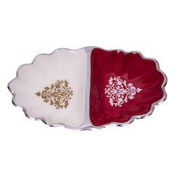 Metal Red And White Multi Bowl Set