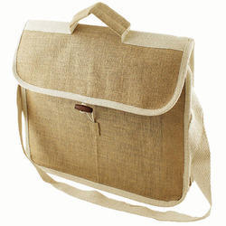 Brown And White Plain Jute Conference Bag
