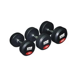 Rubber Coated Dumbbells in round shape, weight : 2.5 kg to 50 kg