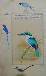 Wooden Water Color Mughal Birds Painting, Size: 8''x11''