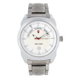 Men Casual Watches Swiss Trend Full Metal Watch With White Dial And Silver Chain