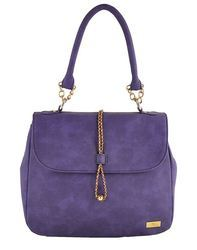 Yellow Purple Synthetic Leather Hand Bag With String Lock