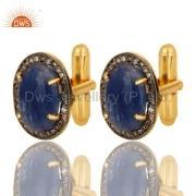 Blue Sapphire Gemstone Diamond Men's Cufflinks