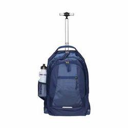 Plain Blue Trolley School Bag, For College