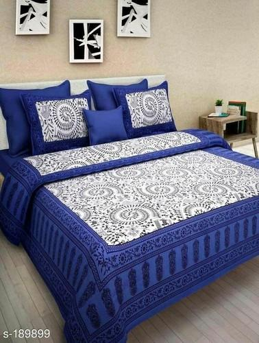 Purple And White Jaipuri Designed Double Bed Sheets