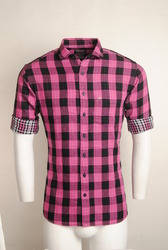 Pink Checked Urban Design Casual Shirts