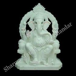 White Ganesha Marble Idol