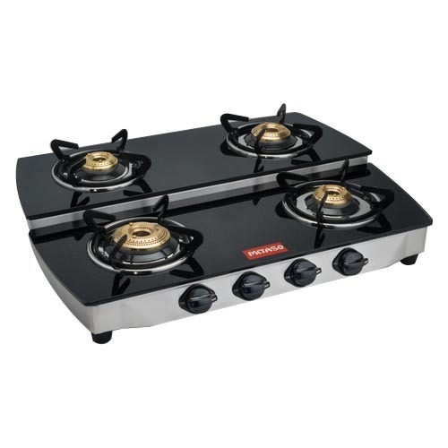 Four Burner Glass Double Decker Gas Stove