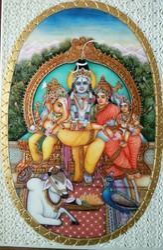 Shiva Family Miniature Painting