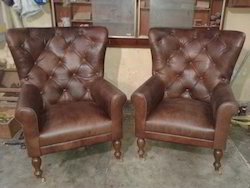 Leather Chairs - Teak Wood And Chesterfield Upholstery