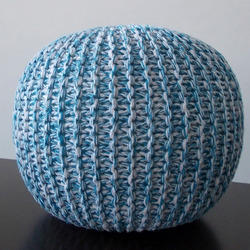 Aqua and White Knitted Pouf
