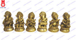Lord Ganesh Sitting Playing Musical Set Of 6