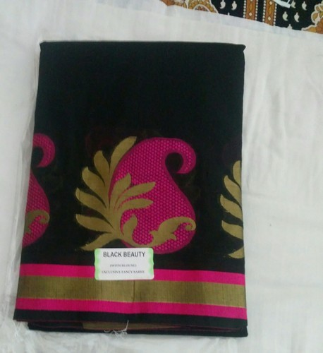 Kota Cotton Black With Pink Flowers Silk Cotton Sarees With Blouse, With Blouse Piece