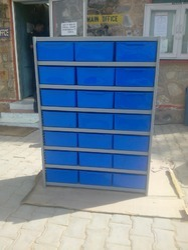 Blue, Grey with Blue Bins Alkon Panda Shelving Unit