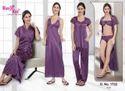 Western Purple Kuukee 1732 Sexy Satin Night Suit 6 Pc, Size: Free