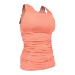 df954bb698b744 Peach Round Neck Women s Sleeveless Top