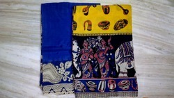 Yellow And Blue Embroidered And Printed Silk Kalamkari Designer Sarees