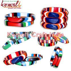 Multi Color Custom Design Resin Layered Bangles Bracelets